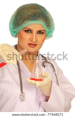 Doctor Student Indian Female Researcher Holding Up A Test Tube In Chemistry Bright Labaratory