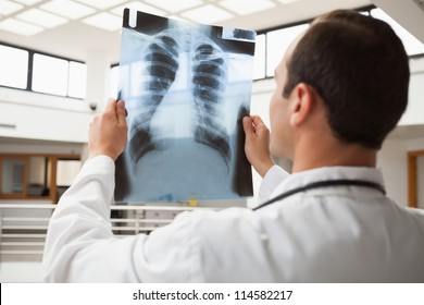 Doctor studying x-ray in hopsital hallway