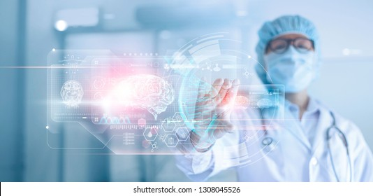 Doctor, surgeon analyzing patient brain testing result and human anatomy, dna on technological digital futuristic virtual , digital holographic, innovative in medical, science and medicine concept.
