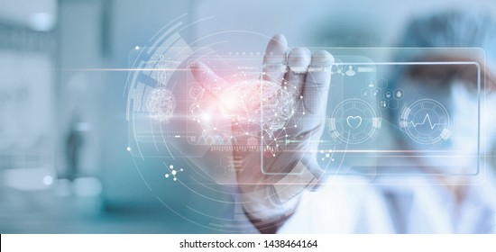Doctor, surgeon analyzing patient brain testing result and human anatomy on technological digital futuristic virtual interface, digital holographic, innovative in science and medicine concept.
