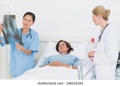 Doctor and surgeon examining x-ray with female patient in the hospital
