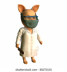 Doctor - Swine Pig in a lab coat wearing a mask and holding a bone saw. Isolated on a white background