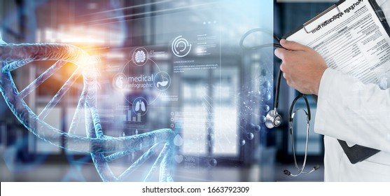 Doctor with tablet and DNA molecule illustration