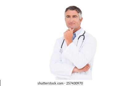 Doctor thinking with hand on chin on white background