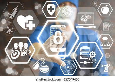 Doctor touched icon digital smartphone lock on virtual screen. Security Innovative Mobile Phone Control Binary Medicine Technologies. Health care innovation information technology. Medical application