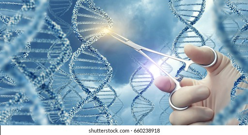 Doctor touched medical clamp a DNA molecule.