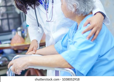 Doctor Touching hands Asian senior or elderly old lady woman patient with love, care, encourage and empathy at nursing hospital : healthy strong medical concept