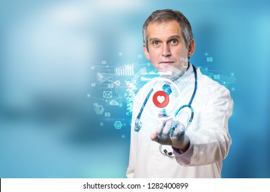 Doctor touching hologram screen displaying medical symbols and charts