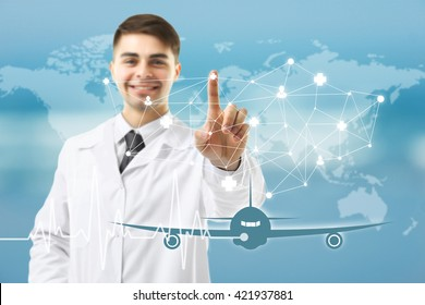 Doctor touching virtual screen. Medical tourism concept