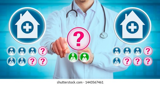 Doctor trying to fill many open hospital work positions with too few professional candidates. Healthcare, human resources and recruitment concept for recent staffing shortage in the medical sector.