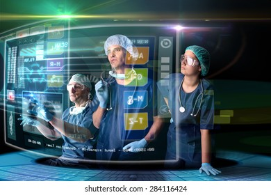 Doctor in uniform with digital  screens and heads-up display