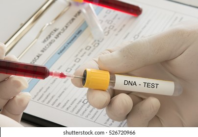 doctor uses a syringe blood sample into dna test tube in the laboratory.