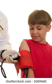 A doctor using a bp cuff (sphygmomanometer)  to take a child's blood pressure.  The blood pressure is measured in terms of millimetres of mercury (mmHg).