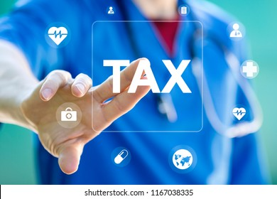 Doctor using innovative virtual touchscreen presses tax button healthcare network on internet panel medicine.