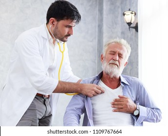 Doctor is using a stethoscope to check heart of senior patient. Healh care and medical concept consultation between doctor and patient