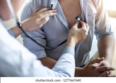 Doctor using a stethoscope checking patient with examining, presenting results symptom and recommend treatment method, Healthcare and medical concept.