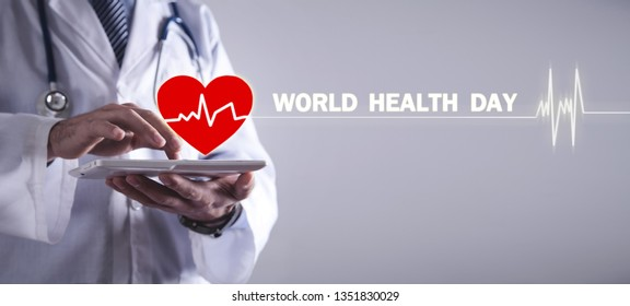 Doctor using tablet. World Health Day