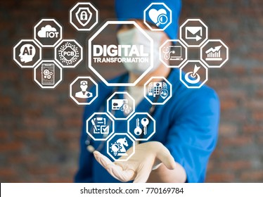 Doctor using virtual interface offers digital transformation text icon. Binary Digital Computing Innovation Transformation Integration Smart Hospital concept.