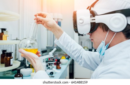 Doctor in virtual reality glasses examines the drug in laboratory. Medical background
