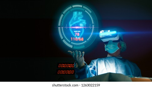 Doctor with virtual reality headset(VR) in operation room in hospital.Surgeon analyzing patient heart testing result on technological digital futuristic virtual interface,innovative concept.