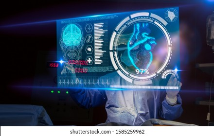 Doctor with virtual reality headset(VR) in operation room in hospital.Surgeon analyzing patient brain testing result on technological digital futuristic virtual interface,innovative concept.