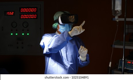 Doctor with virtual reality in operation room in hospital