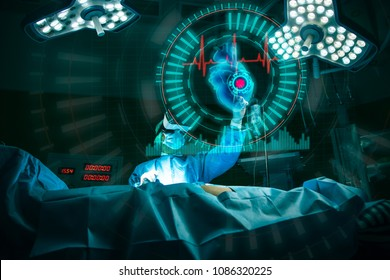 Doctor with virtual reality in operation room in hospital.VR concept.