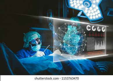 Doctor with virtual reality in operation room in hospital.Surgeon analyzing patient heart testing result and human anatomy on technological digital futuristic virtual interface,digital holographic.