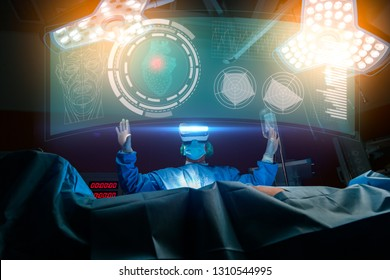 Doctor with virtual reality in operation room in hospital.VR concept.Telemedicine concept with doctor wearing VR glasses.