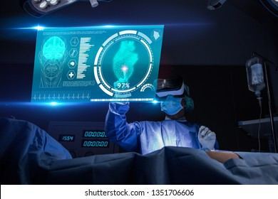Doctor with virtual reality in operation room in hospital.Surgeon analyzing patient heart testing result and anatomy on technological digital futuristic virtual interface,VR concept.