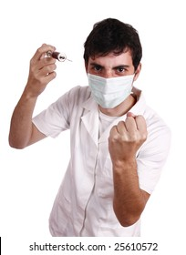 Doctor wearing a medical mask and showing a syringe with blood/medicine - health-care concept