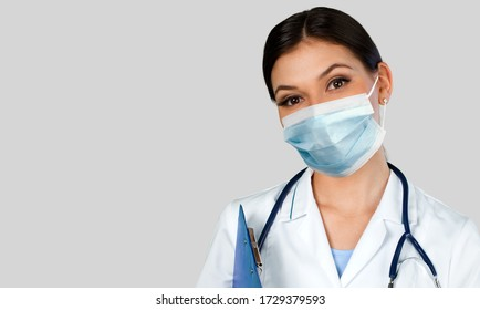 Doctor wearing a protective face mask. Coronavirus concept