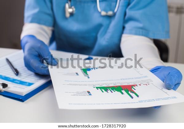 Médico llevando guantes protectores conteniendo la gráfica, analizando los datos de la gráfica COVID-19,Crisis de brotes de pandemia global de Coronavirus,Estadísticas que muestran el número de pacientes infectados,número de muertes,tasa de mortalidad
