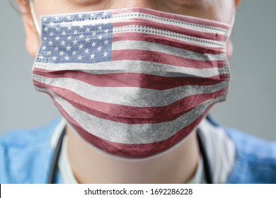 Doctor wearing protective medical textured mask,flag of The United States of America,COVID-19 Coronavirus pandemic crisis,global corona virus disease outbreak,US healthcare system illustration concept