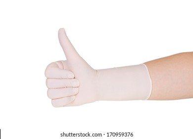 doctor wearing white latex glove giving thumbs up sign on white background
