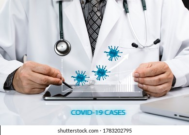 A doctor in white coat studying cases of covid-19 on a tablet. Rising statistic and epidemic of viral infection, fight against covid-19 concepts. Coronavirus COVID-19 3d.