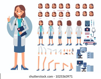 Doctor woman character constructor and medical objects for animation.  Set of various men's poses, faces, mouth, hands, legs. Flat style illustration isolated on white background.