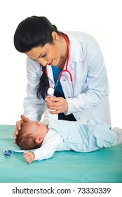 Doctor woman examine a newborn baby six weeks in her office against white background