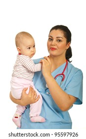 Doctor woman holding baby girl isolated on white background