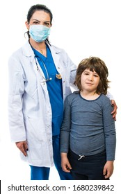 Doctor woman and kid boy posi in front of camera isolated on white backgroun