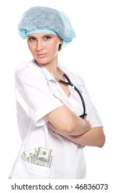 Doctor woman. In the pocket of hundred dollar bills