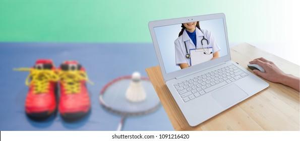 Doctor woman wearing white medical uniform and stethoscopes with modern laptop computer and hand using mouse on wood table isolated on blurred badminton shuttlecock on racket and red shoe on court