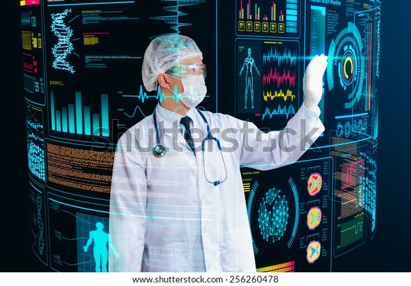 doctor working with futuristic floating screen