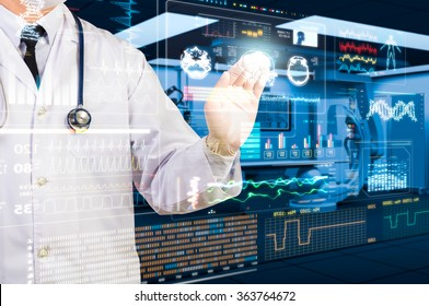 doctor working with futuristic health care screen