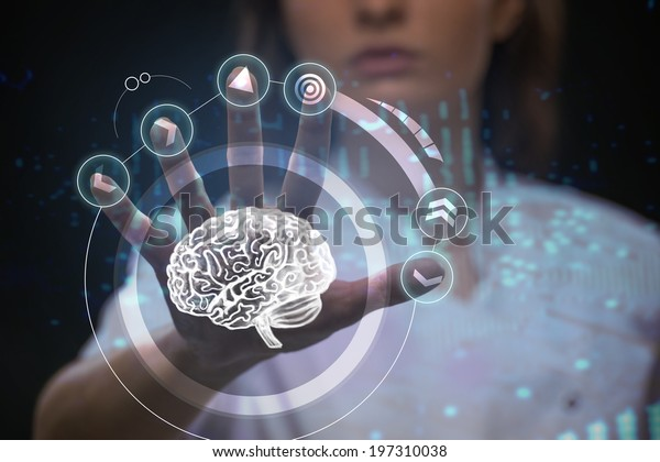 Doctor working with futuristic touch screen interface