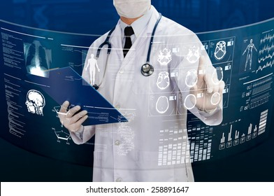 doctor working with futuristic transparency screen