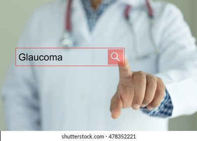 DOCTOR WORKING MODERN INTERFACE TOUCHSCREEN SEARCHING AND GLAUCOMA  CONCEPT