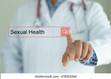 DOCTOR WORKING MODERN INTERFACE TOUCHSCREEN SEARCHING AND SEXUAL HEALTH  CONCEPT