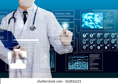 doctor working on healthcare transparency screen