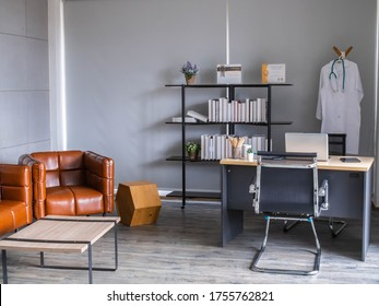 Doctor workplace in office. Modern interior of doctor's office of gynecologist in a clinic. Clean and light interior of medical office.